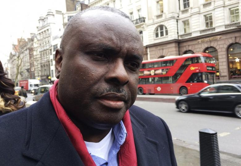 James Ibori, former governor of Nigeria's Delta State, speaks after a court hearing outside the Royal Courts of Justice in London